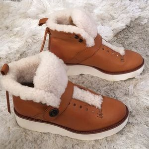 Coach Shearling Urban Leather Hiker Boots 7